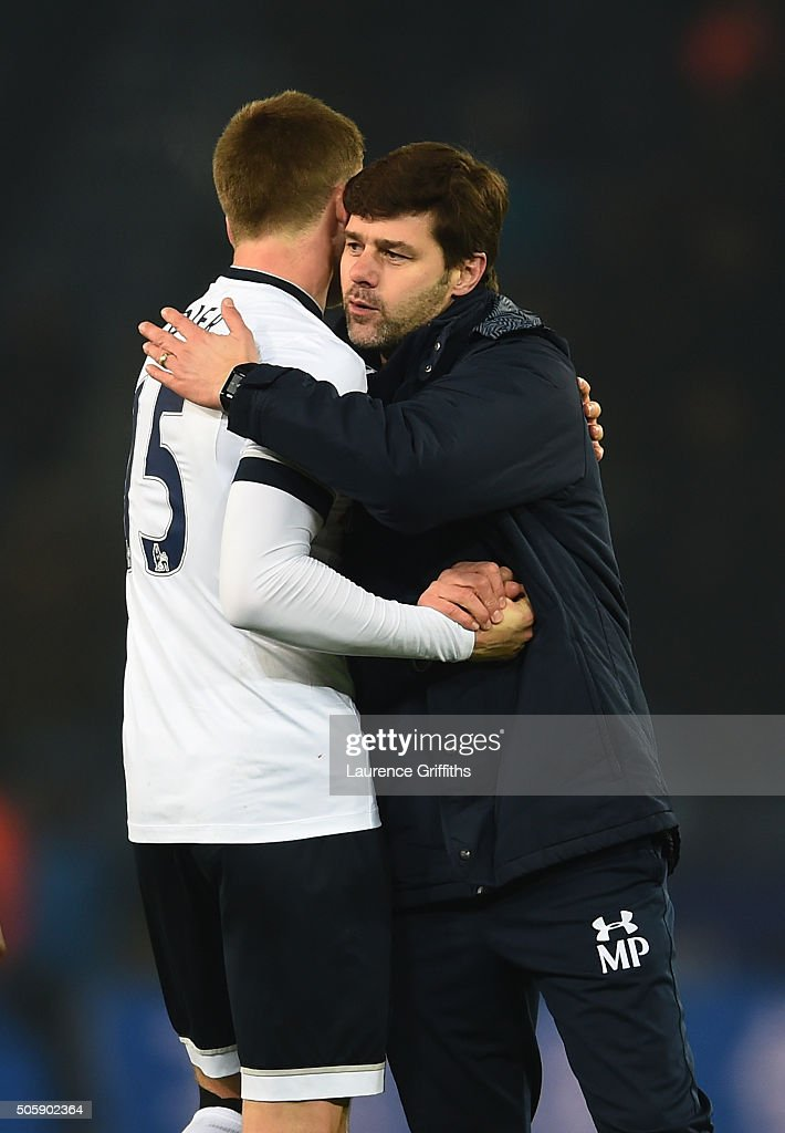 Eric Dier of Spurs and Mauricio Pochettino the manager of Spurs celebrate following their team's 2-0 victory during the Emirates FA Cup Third Round Replay match between Leicester City and Tottenham Hotspur at The King Power Stadium on January 20, 2016 in Leicester, England.