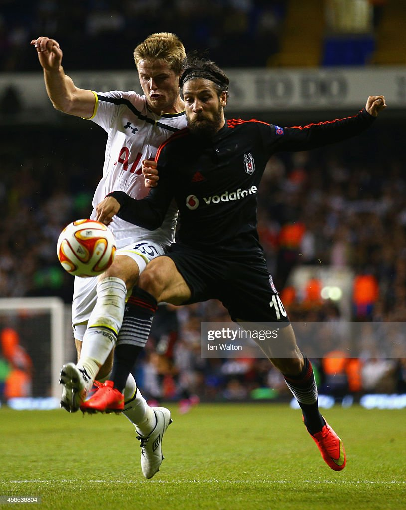 Eric Dier of Spurs and Olcay Sahan of Besiktas battle for the ball during the UEFA Europa League Group C match between Tottenham Hotspur FC and Besiktas JK at White Hart Lane on October 2, 2014 in London, United Kingdom.