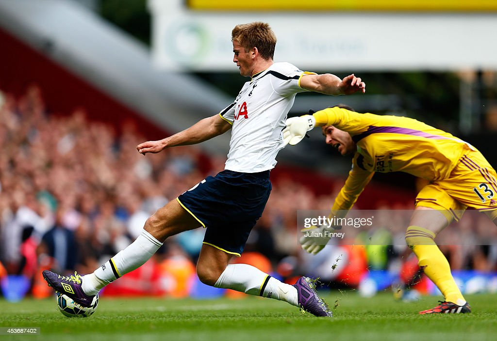 Eric Dier of Spurs scores the match winning goal past Adrian of West Ham during the Barclays Premier League match between West Ham United and Tottenham Hotspur at Boleyn Ground on August 16, 2014 in London, England.