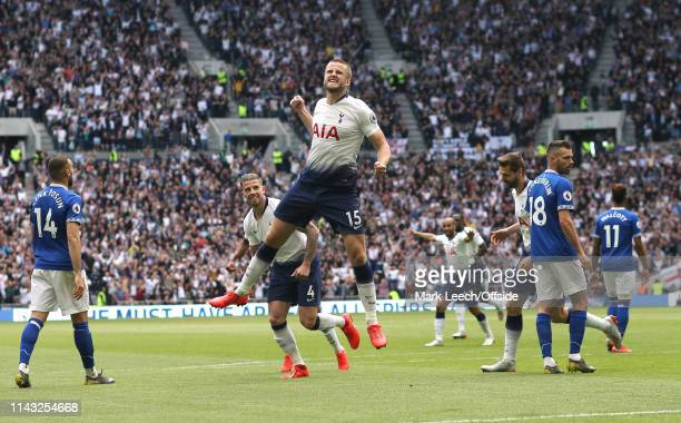 Eric Dier of Tottenham celebrates after scoring the opening goal during the Premier League match between Tottenham Hotspur and Everton FC at...