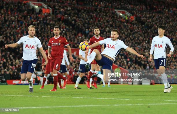 Eric Dier of Tottenham has a shot during the Premier League match between Liverpool and Tottenham Hotspur at Anfield on February 4 2018 in Liverpool...