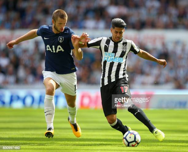Eric Dier of Tottenham Hotspur and Ayoze Perez of Newcastle United battle for possession during the Premier League match between Newcastle United and...