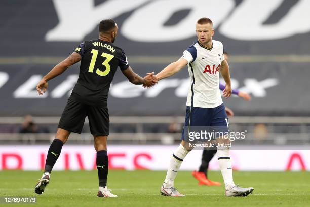 Eric Dier of Tottenham Hotspur and Callum Wilson of Newcastle United interact following the Premier League match between Tottenham Hotspur and...