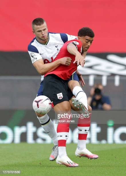 Eric Dier of Tottenham Hotspur and Che Adams of Southampton during the Premier League match between Southampton and Tottenham Hotspur at St Mary's...