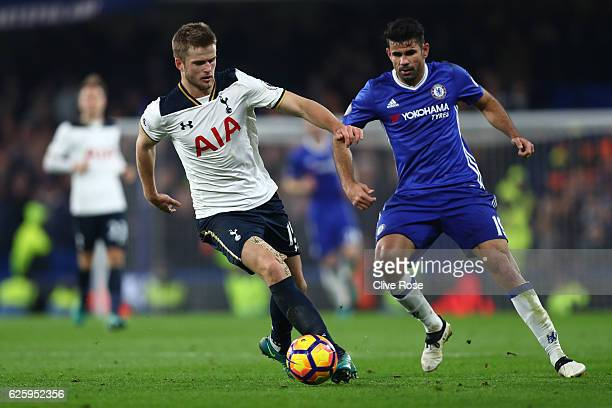 Eric Dier of Tottenham Hotspur and Diego Costa of Chelsea compete for the ball during the Premier League match between Chelsea and Tottenham Hotspur...