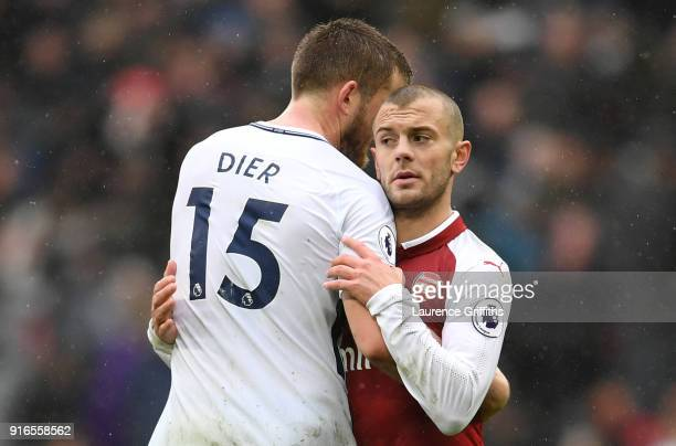 Eric Dier of Tottenham Hotspur and Jack Wilshere of Arsenal embrace following the Premier League match between Tottenham Hotspur and Arsenal at...