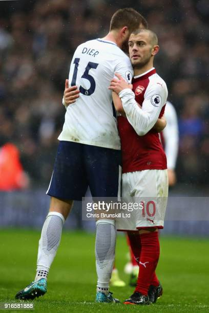 Eric Dier of Tottenham Hotspur and Jack Wilshere of Arsenal hug after the Premier League match between Tottenham Hotspur and Arsenal at Wembley...