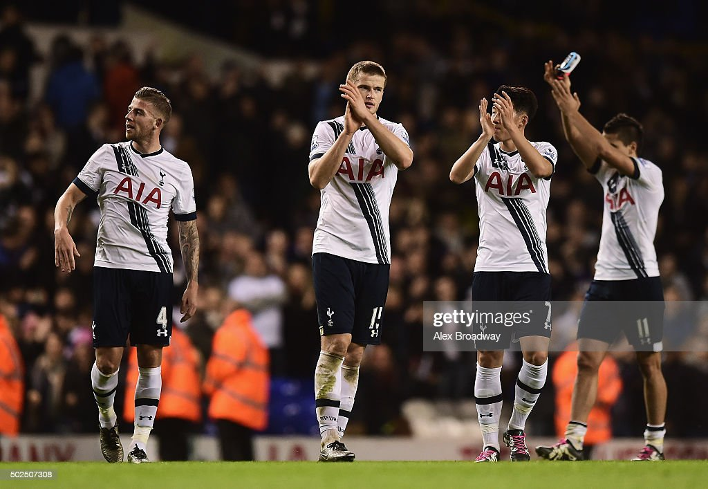 Eric Dier of Tottenham Hotspur applauds the fans with team mates after the Barclays Premier League match between Tottenham Hotspur and Norwich City at White Hart Lane on December 26, 2015 in London, England.