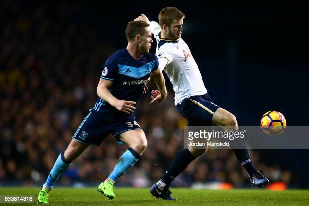 Eric Dier of Tottenham Hotspur battles for the ball with Adam Forshaw of Middlesbrough during the Premier League match between Tottenham Hotspur and...