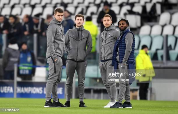 Eric Dier of Tottenham Hotspur Ben Davies of Tottenham Hotspur Christian Eriksen of Tottenham Hotspur and Danny Rose of Tottenham Hotspur take a look...
