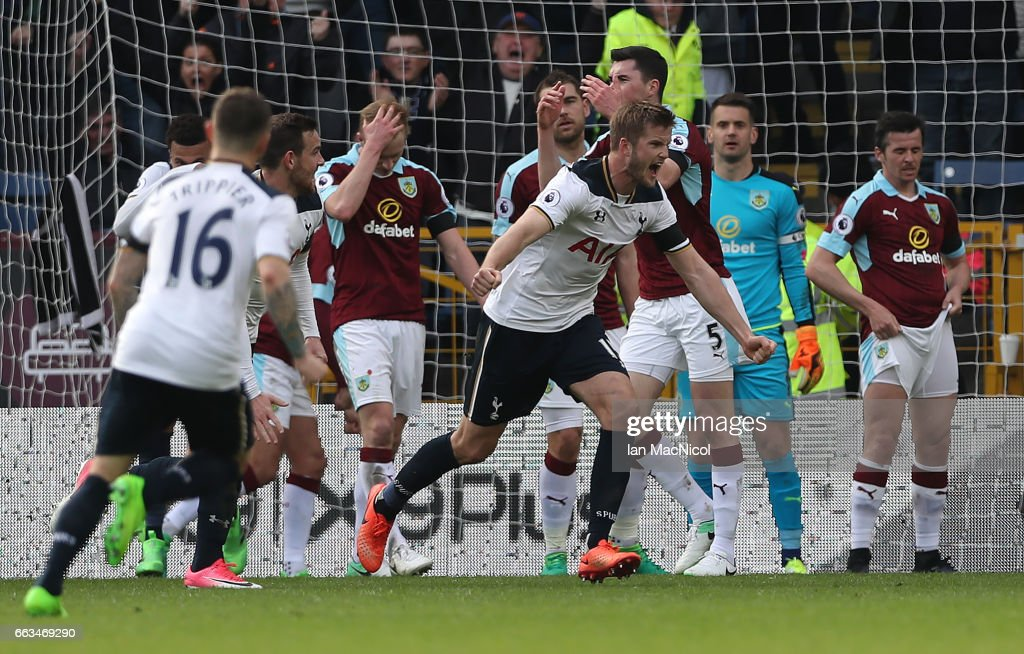 Eric Dier of Tottenham Hotspur celebrates after he scores during the Premier League match between Burnley and Tottenham Hotspur at Turf Moor on April 1, 2017 in Burnley, England.