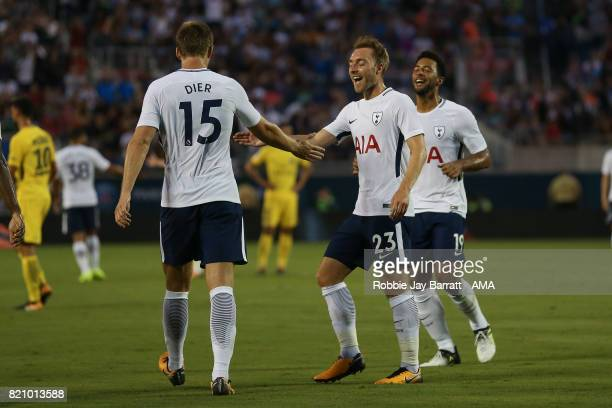 Eric Dier of Tottenham Hotspur celebrates after scoring a goal to make it 12 during the International Champions Cup match between Paris SaintGermain...