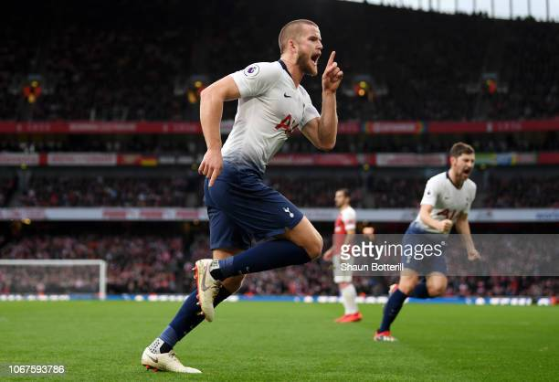 Eric Dier of Tottenham Hotspur celebrates after scoring his team's first goal during the Premier League match between Arsenal FC and Tottenham...