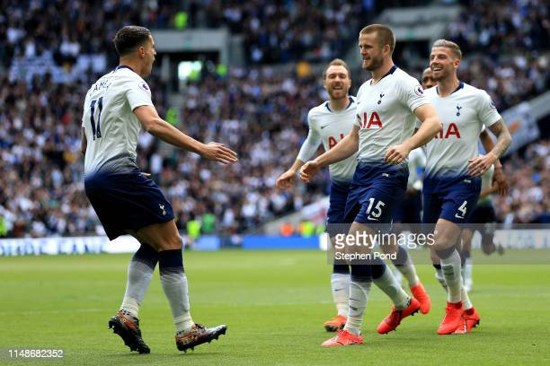 Eric Dier of Tottenham Hotspur celebrates after scoring his team's first goal during the Premier League match between Tottenham Hotspur and Everton...