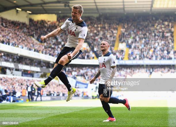 Eric Dier of Tottenham Hotspur celebrates scoring his sides second goal during the Premier League match between Tottenham Hotspur and Watford at...