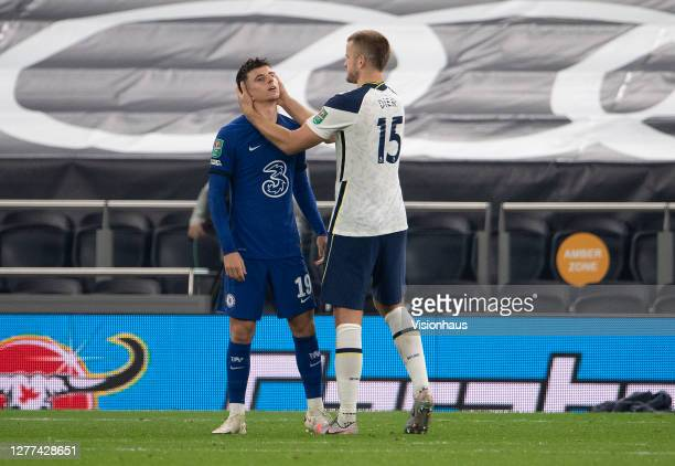 Eric Dier of Tottenham Hotspur consoles Mason Mount of Chelsea after Mount missed the final penalty in the shootout during the Carabao Cup fourth...