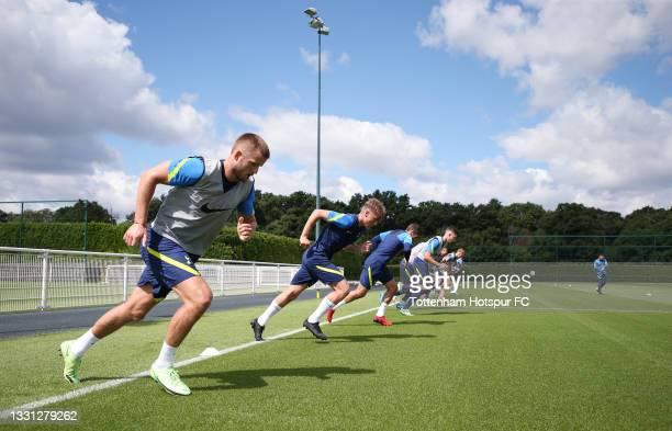 Eric Dier of Tottenham Hotspur during the Tottenham Hotspur pre-season training session at Tottenham Hotspur Training Centre on July 29, 2021 in...