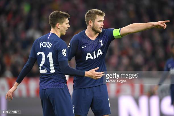 Eric Dier of Tottenham Hotspur gives his team instructions during the UEFA Champions League group B match between Bayern Muenchen and Tottenham...