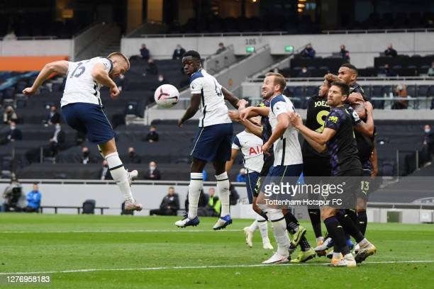 Eric Dier of Tottenham Hotspur heads towards goal during the Premier League match between Tottenham Hotspur and Newcastle United at Tottenham Hotspur...
