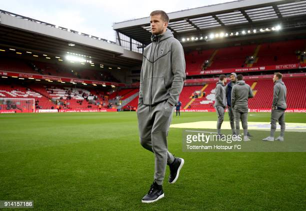 Eric Dier of Tottenham Hotspur inspects the pitch prior to the Premier League match between Liverpool and Tottenham Hotspur at Anfield on February 4...