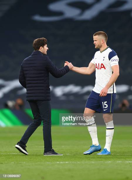 Eric Dier of Tottenham Hotspur interacts with Ryan Mason, Interim Manager of Tottenham Hotspur after the Premier League match between Tottenham...