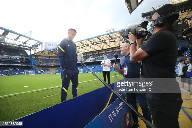 Eric Dier of Tottenham Hotspur is interviewed prior to the Mind Series pre-season friendly match between Chelsea and Tottenham Hotspur at Stamford...