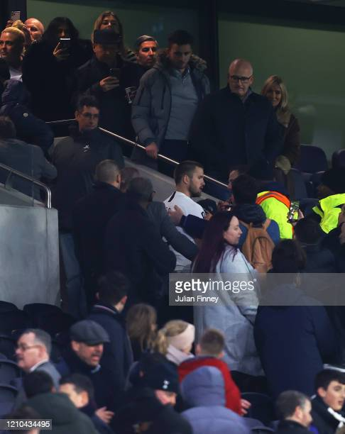 Eric Dier of Tottenham Hotspur is seen speaking to Tottenham Hotspur fans in the stands following his teams defeat in the FA Cup Fifth Round match...