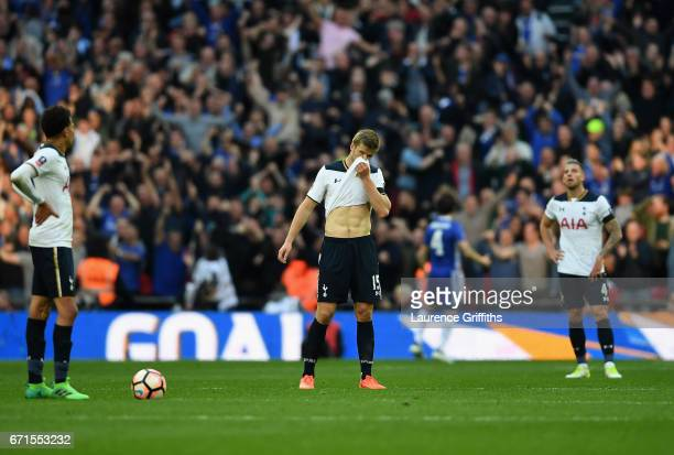 Eric Dier of Tottenham Hotspur looks dejected during The Emirates FA Cup SemiFinal between Chelsea and Tottenham Hotspur at Wembley Stadium on April...