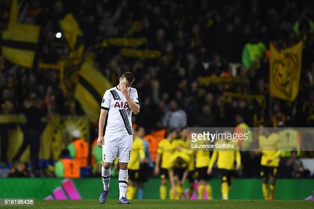 Eric Dier of Tottenham Hotspur reacts as PierreEmerick Aubameyang of Borussia Dortmund scores their second goal during the UEFA Europa League round...