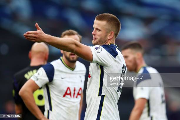 Eric Dier of Tottenham Hotspur reacts during the Premier League match between Tottenham Hotspur and Newcastle United at Tottenham Hotspur Stadium on...