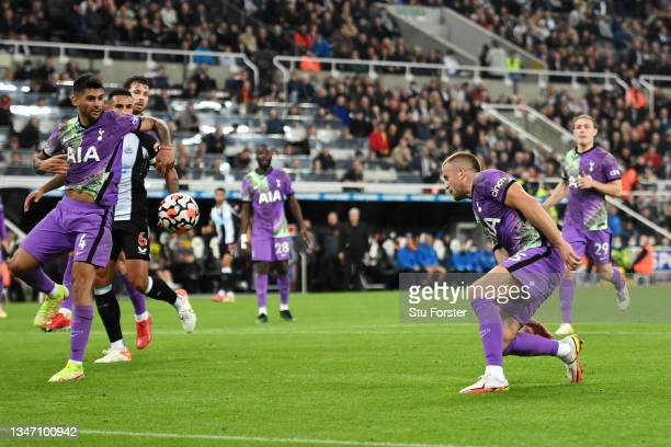 Eric Dier of Tottenham Hotspur scores an own goal, which was the second goal of Newcastle United during the Premier League match between Newcastle...