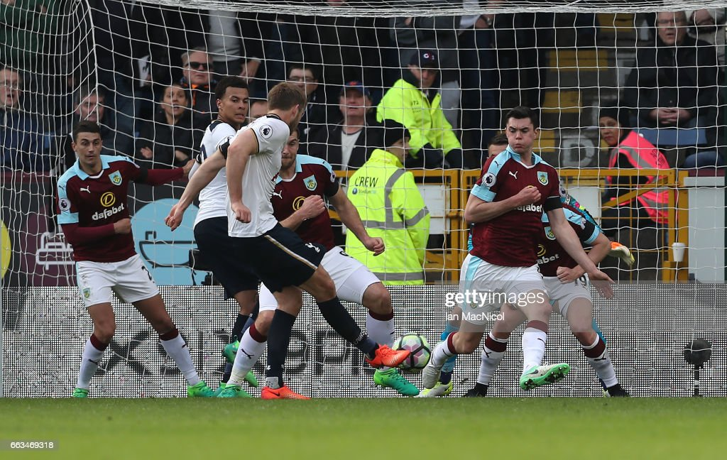 Eric Dier of Tottenham Hotspur scores during the Premier League match between Burnley and Tottenham Hotspur at Turf Moor on April 1, 2017 in Burnley, England.