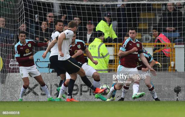 Eric Dier of Tottenham Hotspur scores during the Premier League match between Burnley and Tottenham Hotspur at Turf Moor on April 1 2017 in Burnley...