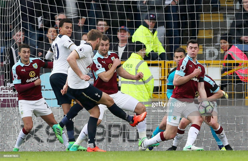 Eric Dier of Tottenham Hotspur scores his sides first goal during the Premier League match between Burnley and Tottenham Hotspur at Turf Moor on April 1, 2017 in Burnley, England.