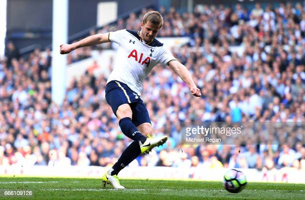 Eric Dier of Tottenham Hotspur scores his sides second goal during the Premier League match between Tottenham Hotspur and Watford at White Hart Lane...