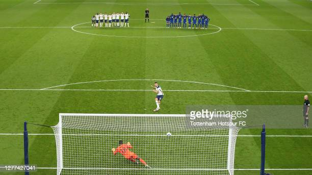 Eric Dier of Tottenham Hotspur scores his team's first penalty in a penalty shoot out during the Carabao Cup fourth round match between Tottenham...