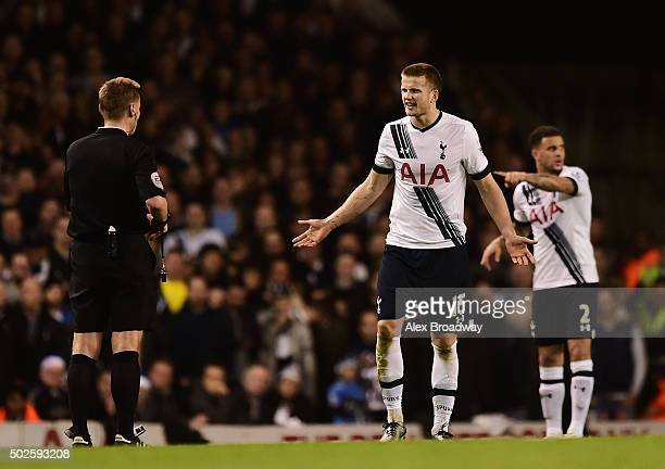 Eric Dier of Tottenham Hotspur speaks to referee Mike Jones during the Barclays Premier League match between Tottenham Hotspur and Norwich City at...
