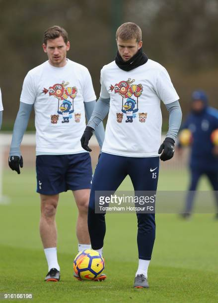 Eric Dier of Tottenham Hotspur trains in a Chinese New Year tshirt ahead of the north london derby during the Tottenham Hotspur training session at...