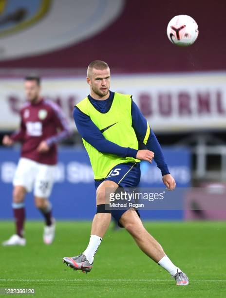 Eric Dier of Tottenham Hotspur warms up prior to the Premier League match between Burnley and Tottenham Hotspur at Turf Moor on October 26 2020 in...