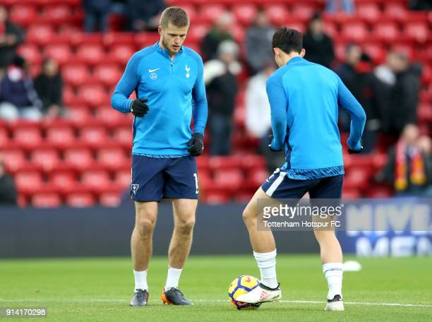 Eric Dier of Tottenham Hotspur warms up prior to the Premier League match between Liverpool and Tottenham Hotspur at Anfield on February 4 2018 in...