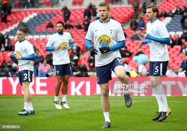 Eric Dier of Tottenham Hotspur warms up prior to the Premier League match between Tottenham Hotspur and Arsenal at Wembley Stadium on February 10...