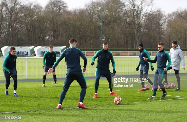 Eric Dier takes part in a drill with team mates during a Tottenham Hotspur training session at Tottenham Hotspur Training Centre on February 12 2019...
