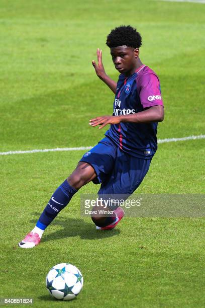 Eric Dina Ebimbe of PSG during the National U19s match between Paris Saint Germain and Caen at Camp des Loges on August 26 2017 in Saint...