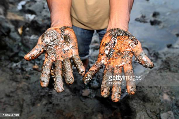 Eric Dooh a farmer shows the oil polluted mud from his fish ponds affected by an oil spill in 2004 in Goi Nigeria on Wednesday Jan 13 2016 Twenty...