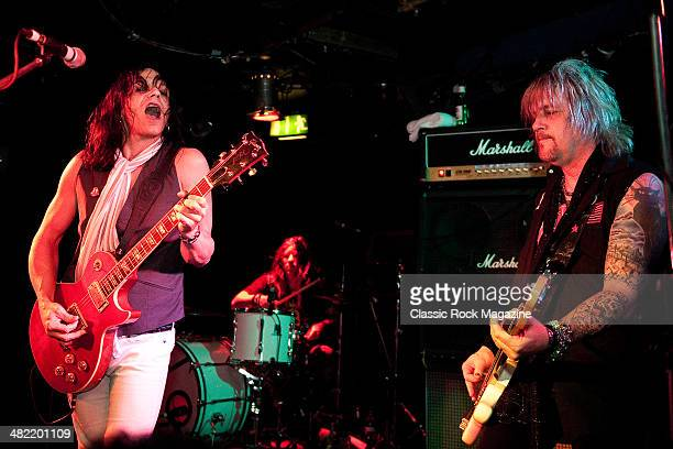 Eric Dover and Eric Brittingham of American hard rock band Lost Angels performing live onstage at the Camden Underworld January 24 2013