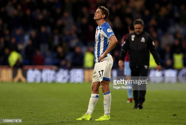 Eric Durm of Huddersfield Town reacts after the Premier League match between Huddersfield Town and West Ham United at the John Smith's Stadium on...