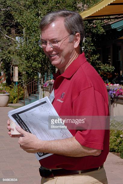 Eric E Schmidt chief executive officer of Google Inc leaves for a lunch break during the annual Allen and Co Media and Technology Conference in Sun...