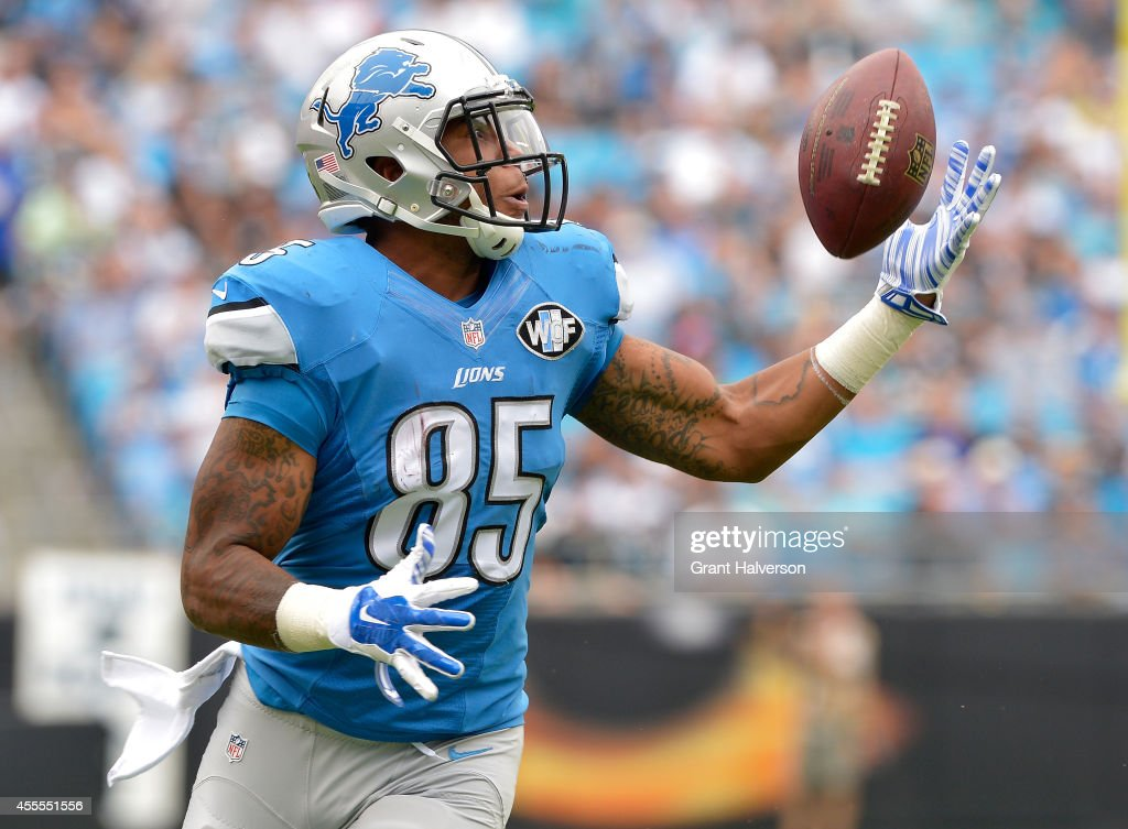 Eric Ebron #85 of the Detroit Lions against the Carolina Panthers during their game at Bank of America Stadium on September 14, 2014 in Charlotte, North Carolina. The Panthers won 24-7.