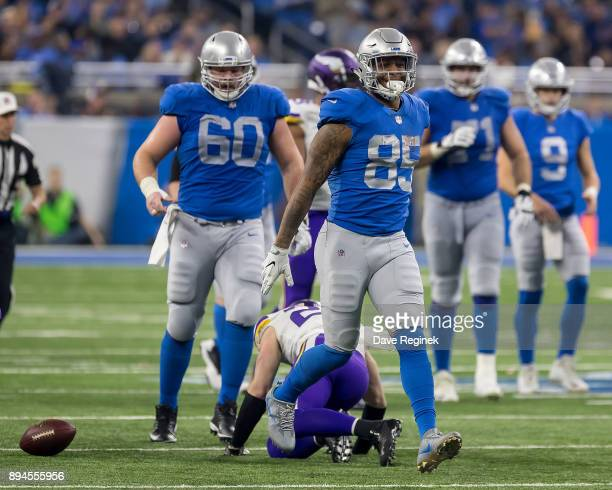 Eric Ebron of the Detroit Lions celebrates a play against the Minnesota Vikings during an NFL game at Ford Field on November 23 2016 in Detroit...