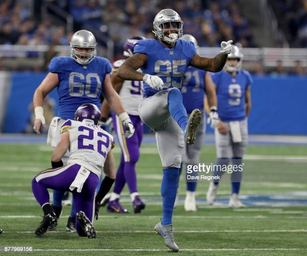 Eric Ebron of the Detroit Lions celebrates a play against the Minnesota Vikings during the second half at Ford Field on November 23 2016 in Detroit...